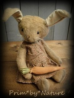 Primitive Rabbit Dolls Cute Pair of Folk Art Rabbits in Jumpers with Carrots