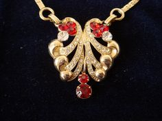 Stunning Midcentury Red & Clear Rhinestone Necklace by EyeSpyGoods on Etsy