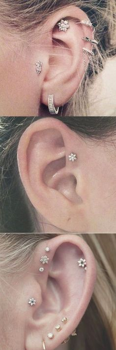Cute Ear Piercing Ideas at - Cartilage Earring, Triple Forward Helix Studs, Tragus Jewelry - Felicity Flower Star Crystal Tragus Piercings, Piercing Implant, Ear Piercing Studs, Cute Ear Piercings, Body Piercings, Cartilage Earrings, Stud Earrings, Peircings, Crystal Earrings