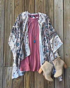 We're obsessed with how perfect this outfit is!  | Kimono $49 | Dress $48 | @Toms bootie $129 | Necklace $26 | #falldresses #fallfavorites #getinmycloset #musthaves #shoplocal #juneandbeyond #newarrivals