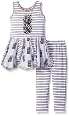037623b53c2 Jelly The Pug Little Girls Grey Pineapple Handkerchief Knit Set Multi 4    Check this awesome