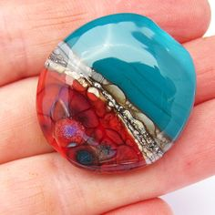Handmade Lampwork Glass Focal Bead Flattened Oval Marine Green Coral