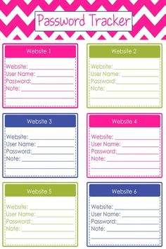 Free Password Trackers and Password Keeper Printable PDFs - how to organize website passwords on paper with a printable password keeper to make a DIY password journal or password organizer binder - it's like your own password vault to track all your online passwords! Download your free printable password organizers worksheets to make a DIY password book with these free home organizing printables Free Password, Password Keeper, Printable Planner, Free Printables, Password Printable, Printable Templates, Password Tracker, Tracker Free, Life Planner