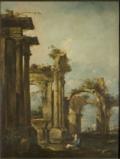 Oil painting, 'Capriccio with Roman Ruins and Figures', Francesco Guardi, Museum Number Francesco Guardi, Building Painting, Classic Architecture, Ancient Ruins, Italian Art, Art Uk, Victoria And Albert Museum, Oeuvre D'art, Fantasy Landscape