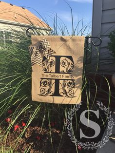 A personal favorite from my Etsy shop https://www.etsy.com/listing/280233270/outdoor-flag-burlap-flag-garden-flag