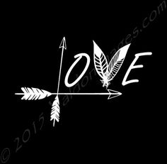 Love arrow feather decal yeti decal car decal by ValdonImages