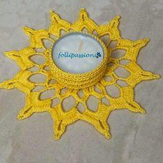 """Folli Passioni: Portacandela """"Patchwork"""" Crochet Home, Crochet Gifts, Free Crochet, Knit Crochet, Crochet Snowflakes, Crochet Doilies, Crochet Stitches, Crochet Furniture, Crochet Diagram"""