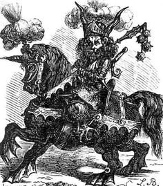 72 Demons:  ALLOCEN  He is a strong Duke, comes as a solider on a big white horse. His face looks like a lions one, but it is red and you can see fire in his eyes. He speaks hoarsely and very loudly.He teaches astronomy and gives good spirits in house.