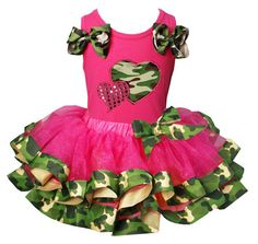 Girls Camo Print with Two Hearts Satin Ribbon Tutu Outfits