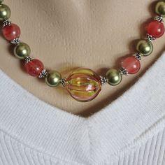 Venetian Blown Glass Green and Red Striped Bead, Swarovski Crystal Pea – Kaminski Jewelry Designs
