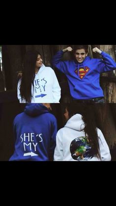 sweater jumper jacket blue white sweatshirt superman hoodie couple sweaters bag couple jackets matching couples shirt couple swetshirts matching set world writing superman hoodie white blue sweater hero world couple cute hoodie boyfriend love it! Cute Relationship Goals, Cute Relationships, Paar Style, My Superman, Batman, Photo Couple, Cute Couples Goals, Adorable Couples, Matching Couples