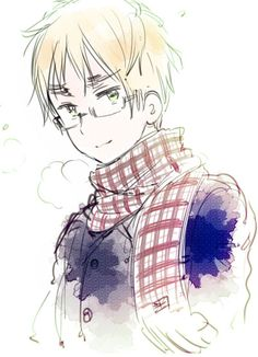 Axis Powers Hetalia England in the Winter << IT'S CANNON, ENGLAND WEARS GLASSES OCCASIONALLY!