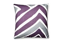 One Kings Lane - Brighten Up Your Bed - Tao 20x20 Pillow, Plum, love bringing the grey into the bed!