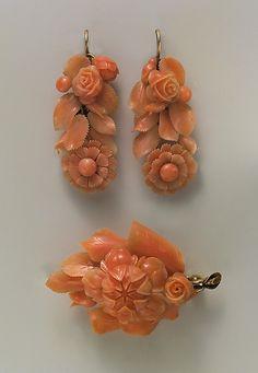 Coral Tiffany  Co. earrings and brooch, Met, 1854-1870