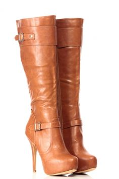 Tan Faux Leather Knee High Platform Boots