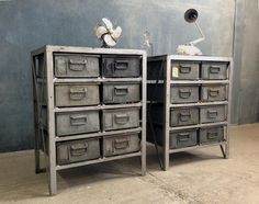 Vtg Industrial Haberdashery Metal Steel Factory Draws Storage Unit Cabinet 1960s in Antiques, Antique Furniture, Chests of Drawers | eBay