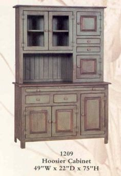 Amish-Hoosier Cabinet - Primitive Green  Beautiful hoosier cabinet made and painted by Amish Craftsmen in Pennsylvania. Give your kitchen or dining room the country look while adding lots of storage space. #urban homesteading #hoosier #kitchen