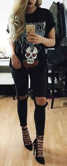ripped skinny jeans. graphic tee. strappy pointed heels.