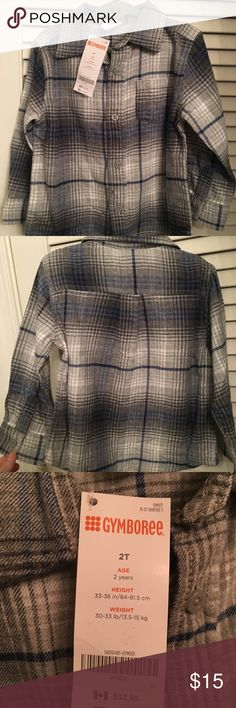 Brand new Gymboree Button Up Flannel--so cute! 2T Shades of grey and blue--awesome paired with denim or even grey pants!  Just got hidden in the back of the closet and is a size too small now, or we would be keeping it! Gymboree Shirts & Tops Button Down Shirts