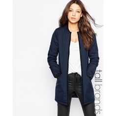 Vero Moda Tall Quilted Longline Bomber Jacket ($89) ❤ liked on Polyvore featuring outerwear, jackets, navy, flight jacket, tall jackets, zipper jacket, quilted jacket and navy quilted jacket