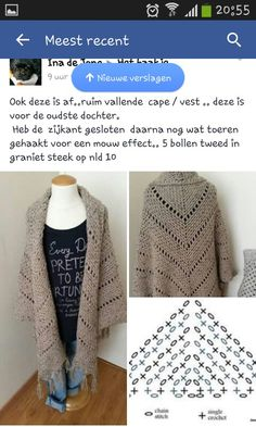 Granietsteek Crochet Diagram, Crochet Chart, Knit Crochet, Crochet Prayer Shawls, Crochet Cardigan Pattern, Crochet Scarves, Crochet Clothes, Shawl Patterns, Crochet Patterns