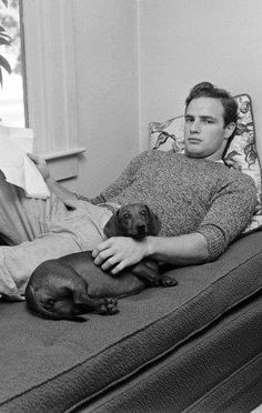 Marlon Brando with his dachshund