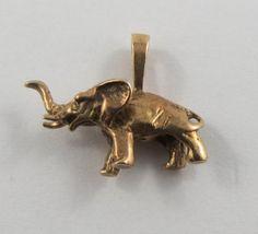 Elephant 10K Gold Vintage Charm For Bracelet by SilverHillz