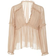 Ulla Johnson     Silva Pleated Blouse (2.965 NOK) ❤ liked on Polyvore featuring tops, blouses, shirts, neutral, beige blouse, frilly blouse, frill blouse, ruffle blouse and ruffle v neck blouse