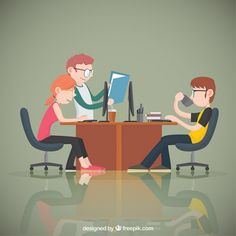 Young office workers Free Vector