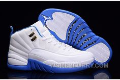 2017 Air Jordan 12 White Metallic Gold-University Blue For Sale Lastest 01b0f3a72