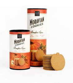 Get ready for fall! Salem Baking Company's Pumpkin Spice Moravian Cookies are baked with all-natural ingredients like farm-grown pumpkins, Indonesian cinnamon, and cloves from Madagascar.