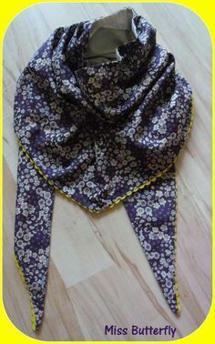 Tuto (avec explications plus claires) : Chèche pas cher - tuto par Miss Butterfly Coin Couture, Couture Sewing, Sewing Scarves, Diy Clothes, Clothes For Women, Creation Couture, Love Sewing, Sewing Tips, Sewing Projects
