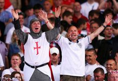 England fans celebrate during the UEFA EURO 2012 group D match between Sweden and England