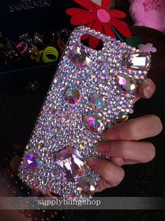 Unique Bling New Luxury Lovely Fashion Sparkles Charms Glossy AB Jewelled Crystals Rhinestones Diamonds Gem Hard Cover Case for Mobile Phone Girly Phone Cases, Diy Phone Case, Iphone Cases, Phone Cover, Mobile Covers, Crystal Rhinestone, Sparkle, Jewels, Crystals
