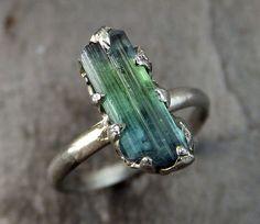 Raw blue Green Tourmaline White Gold Ring Rough Uncut Gemstone Promise…
