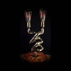 Getting The Perfect Table Lamp For Your Room – Beautiful Lamps Steampunk Table, Lampe Steampunk, Unique Table Lamps, Rustic Lamps, Rustic Decor, Lampe Edison, Lampe Tube, Best Desk Lamp, Pipe Lamp
