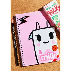 Tokidoki Strawberry Milk Notebook ($10) ❤ liked on Polyvore featuring home, home decor and stationery