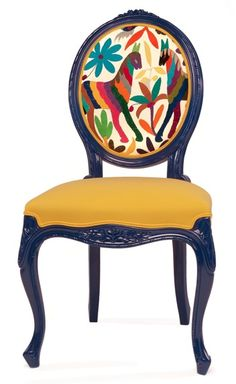 """Valentina Gonzalez Wohlers' """"Prickly Chair"""" - French Louis XV lines mixed with colorful Mexican textiles. Wow! - come sit awhile and visit www.mainlymexican.com #Mexico #Mexican #chair"""
