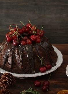 Fruit Cake with Chocolate Glace and Cherries