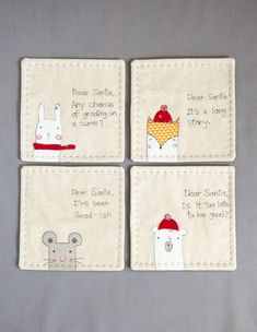 You will be received my Dear Santa coaster set designs, mirror images for applique. Finished coaster size: x What you need: - 6 x 6 linen - 6 x 6 coaster back fabric - fabric scraps - 6 x 6 cotton batting - fusible Running Stitch, Christmas Cross, Xmas, Illustrator Tutorials, Sewing Basics, Dear Santa, Baby Sewing, Fabric Scraps, Coaster Set