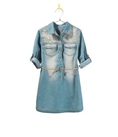 Image 1 of EMBROIDERED DENIM SHIRT DRESS from Zara