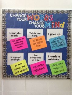 Change your Words, Change your Mind bulletin board is a great classroom display that can be referred to time and again. The board could also be redone for growth mindset and fixed mindset phrases and placed in a teacher work area. Classroom Bulletin Boards, Classroom Displays, Future Classroom, School Classroom, Classroom Organization, Classroom Management, Classroom Ideas, Bulletin Board Ideas For Teachers, Counseling Bulletin Boards