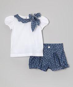 Haut blanc à manches courtes et short bleu marine - Enfant, tout-petits et filles