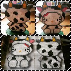 Cow Hello Kitty perler beads by Jannicke Eriksson