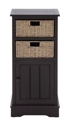 Woodland Imports Wood 2 Basket Cabinet & Reviews | Wayfair