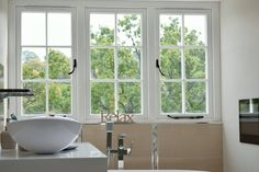 Grained White Residence 9 windows by GHI Windows Garage Extension, Traditional Style Homes, Through The Window, Windows And Doors, French Doors, Kitchen Design, Home Improvement, Colours, Window Ideas