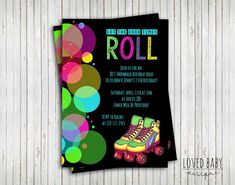 Skate Party Invitation 80's Party Invitation Let the