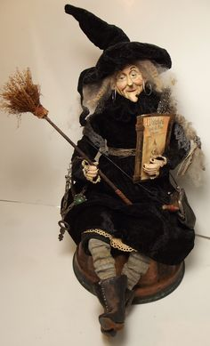 Handmade Witch By Kim Sweet~Kim's Klaus.....Dressed in worn Black Velvet~Handmade Book & Broomstick~Vintage Keys~Antique Leather Coin Purse~Sitting on Old Copper Spider Mold