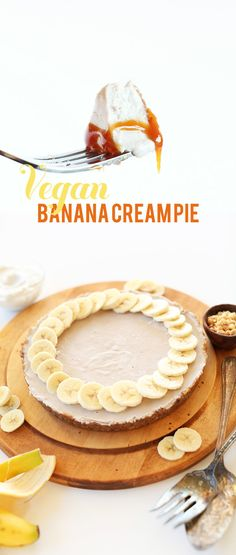 No Bake VEGAN Banana Cream Pie! Simple ingredients, 2 steps, so delicious! #vegan #glutenfree