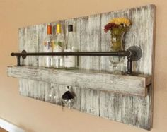 offset shelves, wooden shelves, shabby chic decor, rustic home decor Industrial Wine Racks, Rustic Wine Racks, Rustic Shelves, Wooden Shelves, Rustic Industrial, Pallet Wall Shelves, Shabby Chic Kitchen, Shabby Chic Homes, Shabby Chic Decor